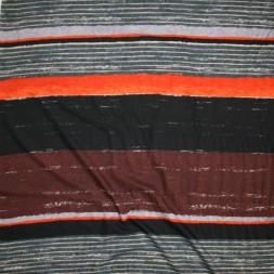 100% viskose med brede striber i rød-brun orange sort-20