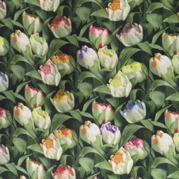 100% viscose poplin med digitalt print med tulipaner i grøn-20