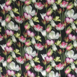 100% viscose poplin med digitalt print med tulipaner i sort-20