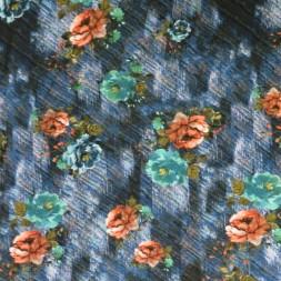 100% viskose med digitalt print i grovvævet look med blomster i blå-20