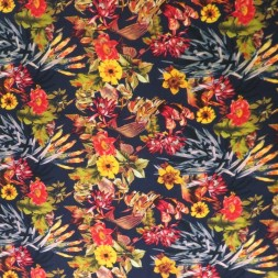 100% viskose med blomster, mørkeblå, gul, rød-20