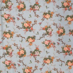100% viscose med digitalt print med kolibri and blomster i lyseblå-20
