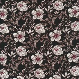 100% viskose blomstret i sort, knækket hvid og mørk rød-20