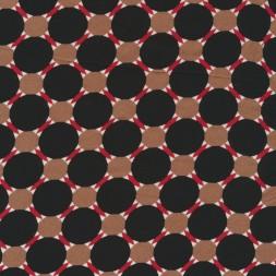 100% viskose med stor prik i sort pudder-brun rust hvid-20
