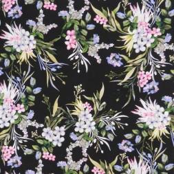 100% viskose med blomster i sort grøn lysegrå rosa-20