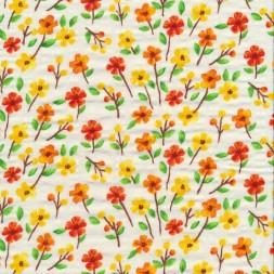 Blomstret viscose/bomuld offwhite gul orange-20