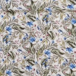 Voil i viskose/bomuld med blomster og blade i hvid army blå-20