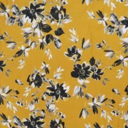 100% viskose twill-vævet med blomster i carry sort grå-20