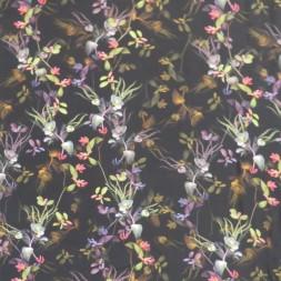 100% viskose twill-vævet i sort med blomster-20
