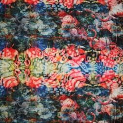 Viscose/lycra m/flamingo/blomst koral/blå-20