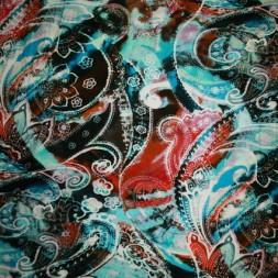 Rest Viscose/lycra m/stort mønster aqua/turkis/orange 74 cm.-20