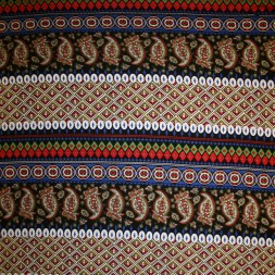 Afklip Viscose/lycra m/striber/mønster koboltblå/rød/sort, 100 cm.-20