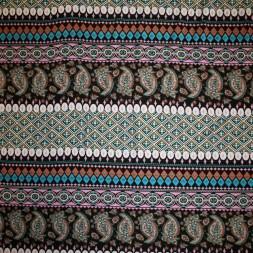 Afklip Viscose/lycra m/striber/mønster syren/turkis/sort, 100 cm.-20