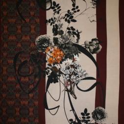 Viscose elasthan med strib og stort blomster print-20