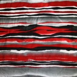 Viscose jersey med striber uens striber rød sort grå-20