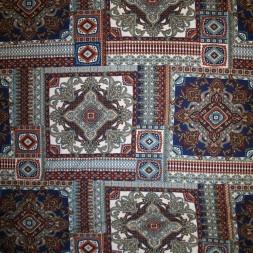 Afklip Viscose jersey med mønster i firkanter blå brændt orange hvid, 100 cm.-20