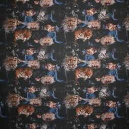 Viscose/lycra m/digitalt print med panter og leopard-20