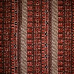 Viskose jersey med stribe mønster rød brændt orange sort-20