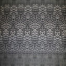 Viskose jersey med dyreprint i bred strib i beige grå sort-20