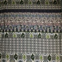 Afklip Viskose jersey med bred stribe mønster sand army rosa, 100 cm.-20