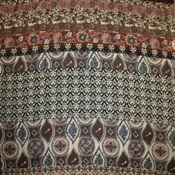 Viskose jersey med bred stribe mønster sand rosa brændt orange-20