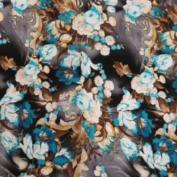 Afklip Viskose jersey med blomster grå brun turkis, 100 cm.-20