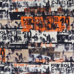 Viscose/lycra med tekst og firkanter i marine orange pudder-brun-20