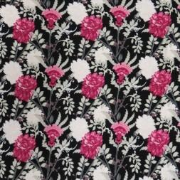 Viscose/lycra med blomster i sort cerisse grå-grøm-20
