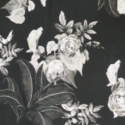 Viscose/lycra m/digitalt print sort med store blomster-20