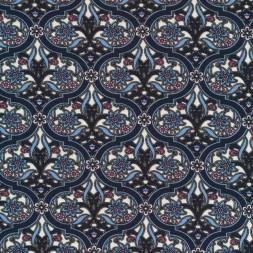 Viscose/lycra med cirkel mønster og blomst i blå-20