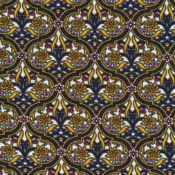 Viscose/lycra med cirkel mønster og blomst i gul-20