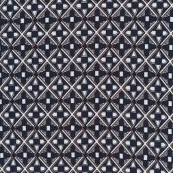 Viscose/lycra med rude-mønster i marine hvid og sand-20