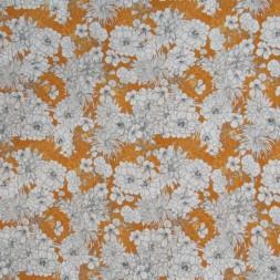 Rest Viscose/lycra m/digitalt print lys brændt orange med blomster-40 cm.-20