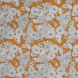 Viscose/lycra m/digitalt print lys brændt orange med blomster-20