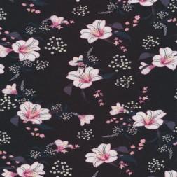 Jersey i Viscose/lycra sort med hibuscus blomster i rosa-20