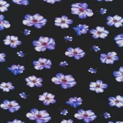 Jersey i Viscose/lycra sort med blomster i hvid og lavendel-20