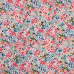 Viscose/lycra m/digitalt print med blomster i lys turkis pink blå-20