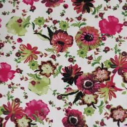 Viscose/lycra m/digitalt print med blomster i knækket hvid pink lime-20