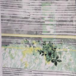 Viscose/lycra m/digitalt print med strib og blomst i hvid grå mint-20