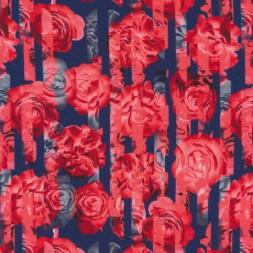 Jersey i Viscose/lycra digitalprint med strib og roser i støvet blå og rød-20