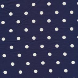 Viscose/lycra med prikker i mørkeblå og hvid-20