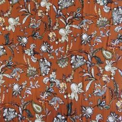 Jersey i Viscose/lycra digitalprint med blomster i brændt orange-20