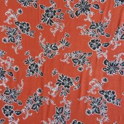 Jersey i Viscose/lycra digitalprint med blomster i rust-20