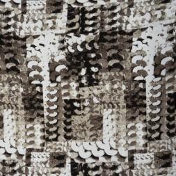 Afklip Jersey i Viscose/lycra digitalprint i palliet look i brun beige hvid og sort 100 cm.-20