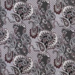 Viscose jersey med sjalsmønster og prikker sort lysegrå rødbrun-20