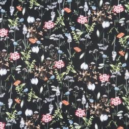 Jersey i Viscose/lycra digitalprint med blomster i sort lyserød lysegrå-20