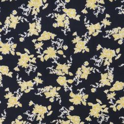 Viscose jersey i sort med gule blomster-20