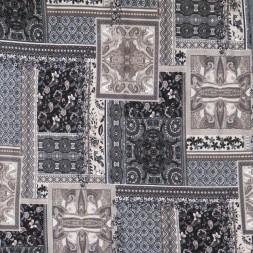 Viscose jersey med mønster i firkanter i sort pudder-brun grå-20