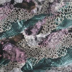Viscose jersey med print med net-look i sort rosa grøn-20