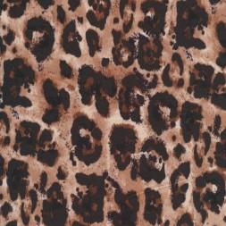 Afklip Viscose jersey med dyreprint i mørkebrun og pudderbrun 100 cm.-20